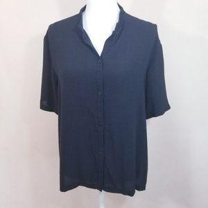Eileen Fisher Black Linen Blend Top - Size Large